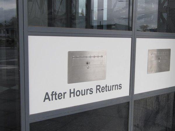 External Returns Bin Face Plate and Shute